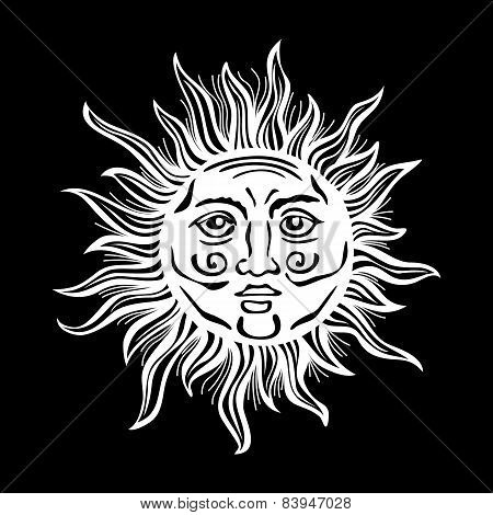 Sun Retro Vintage Vector Folklore Classic Decoration Drawing Illustration