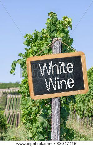 A blackboard in the vineyards - White wine