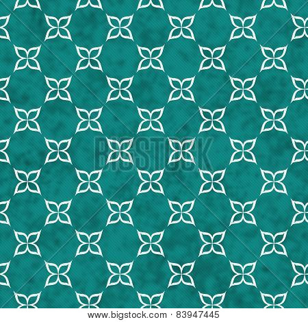 Teal And White Flower Symbol Tile Pattern Repeat Background