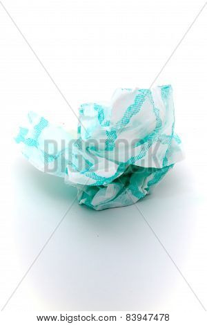 Crumpled Paper. Over  White Background