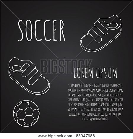 Template For Advertising Brochure With A Sneakers And Soccer Ball On A Chalk Blackboard. Outline Des
