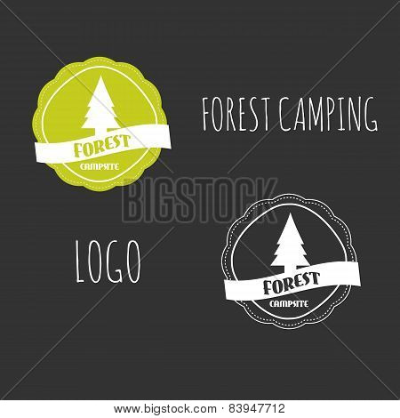 Forest Camping Wilderness Adventure Badge Graphic Design. Summer Vintage Logo Emblem. On Black Backg