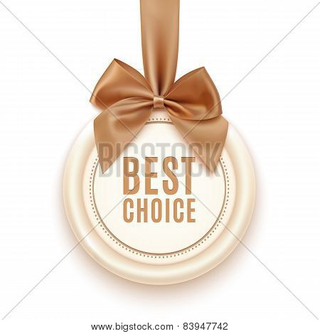Best choice badge with golden ribbon and a bow.