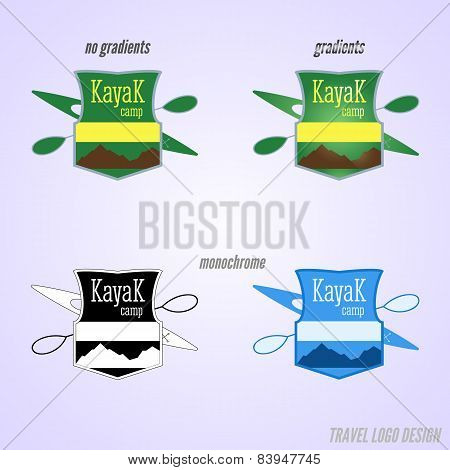 Kayaking Camp Badge And Logo Design. Expedition Label And Sticker. Unusual Design. Summer Outdoor Ad