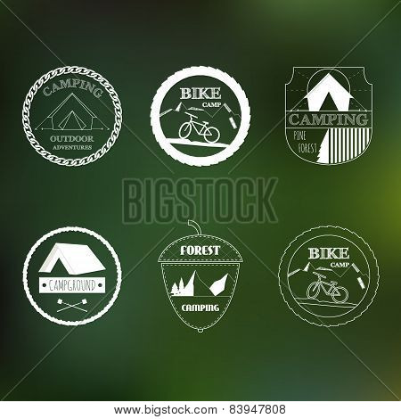 Retro outdoor logo elements for Summer design. Vintage ornaments. All for Summer holidays. Camping,