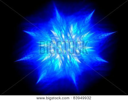 Blue Glowing Fractal In Space