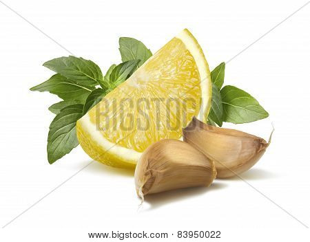 Lemon Basil Garlic Segments Pesto Ingredient Isolated On White Background