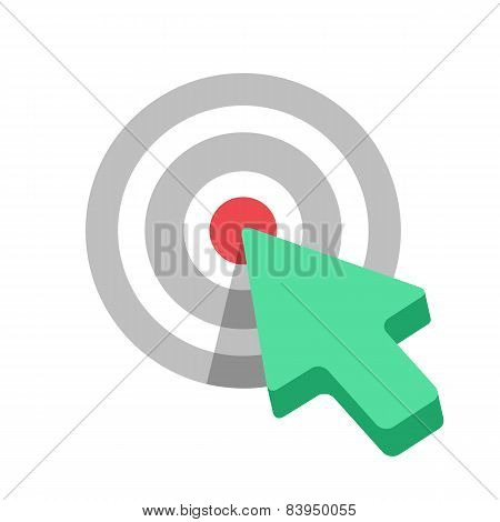 Flat Target icon with green arrow cursor.