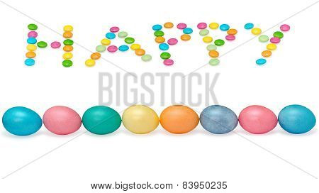 happy easter image wiht eight eggs and candys pastel colored isolated on white