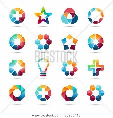 Logo templates set. Abstract circle creative signs and symbols. Circles, plus signs, stars, triangle