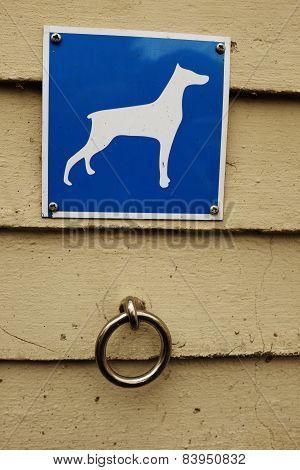 Parking For Dogs, Steel Ring And A Sign