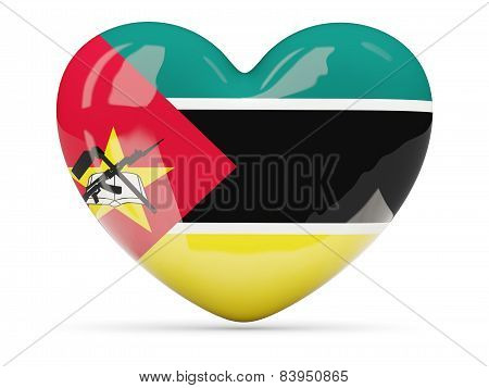 Heart Shaped Icon With Flag Of Mozambique