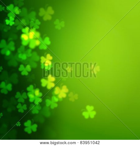 Abstract Unfocused Shamrock Leaves, Saint Patricks Day Vector Background