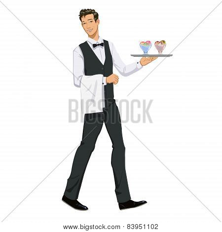 waiter with ice cream