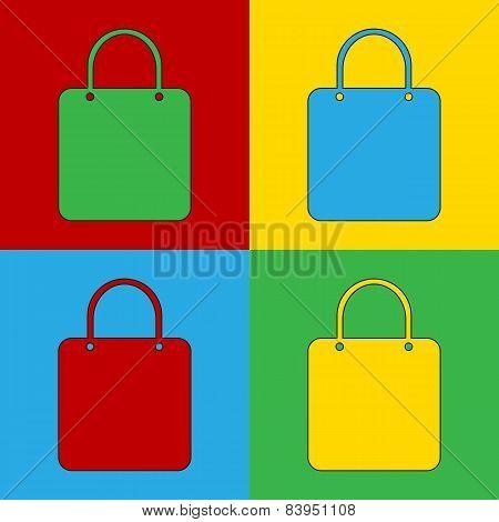 Pop Art Shopping Bag Simbol Icons.