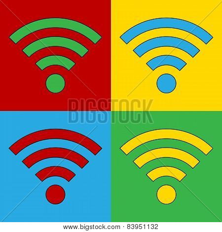 Pop Art Wi Fi Simbol Icons.