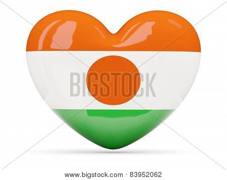 Heart Shaped Icon With Flag Of Niger
