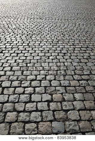 Cobbled Road On Industrial Site