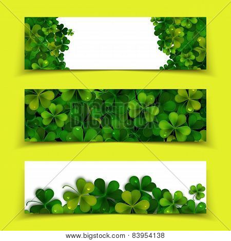Saint Patricks Day Vector Banners With Realistic Shamrock Leaves