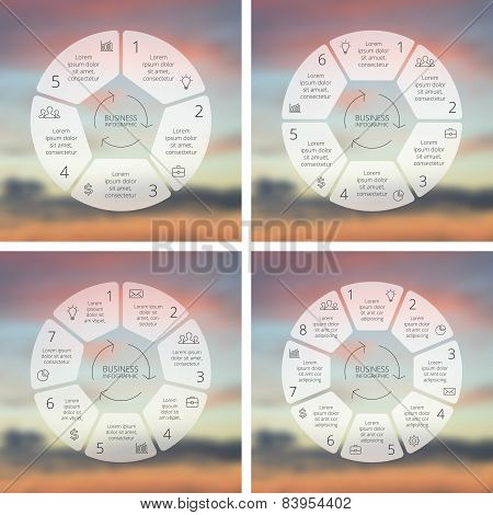 Circle line infographics set. Template for cycle diagram, graph, presentation and round chart. Busin