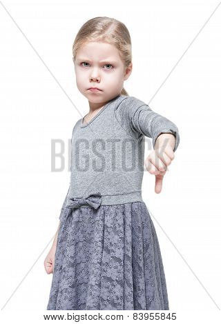 Beautiful Little Girl Showing Thumbs Down Isolated
