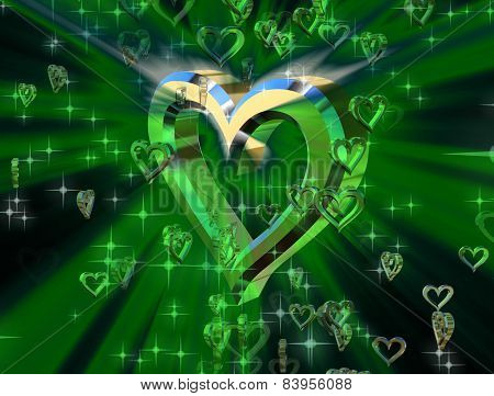Golden Heart On A Green Background Surrounded By Small Shiny Hearts