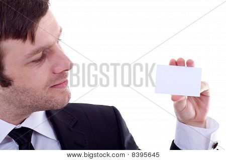 Man Holding A Visiting Card