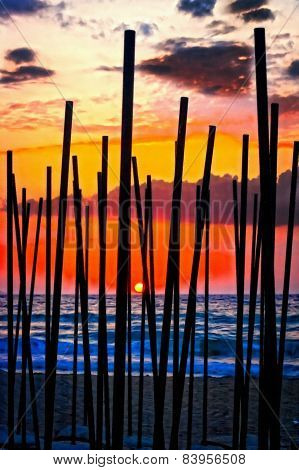 Digital Painting Of Looking Through Beach Umbrella Poles At Sunset