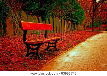 A Digitally Converted Painting Of A Single Bench In A Cemetery