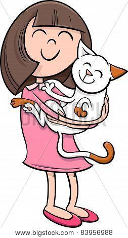 Girl With Kitten Cartoon