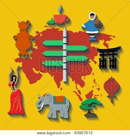 Vector asia flat color travel