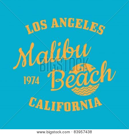 Malibu Beach Illustration Typography