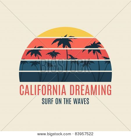 California Surf Illustration Typography with sunset