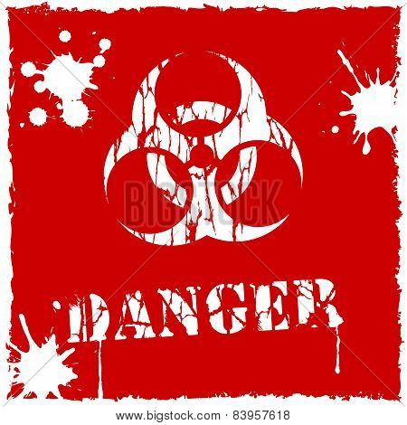 Vector biohazard icon red and white