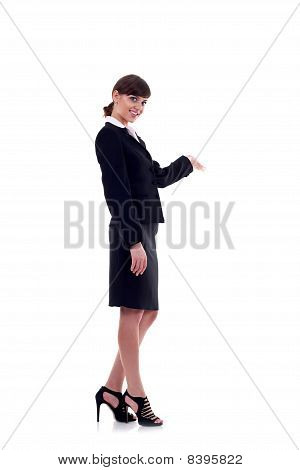 Business Woman With Her Arm Out