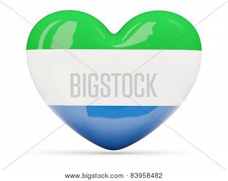 Heart Shaped Icon With Flag Of Sierra Leone