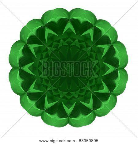 Beautiful Pattern Rosette Of Green Glass