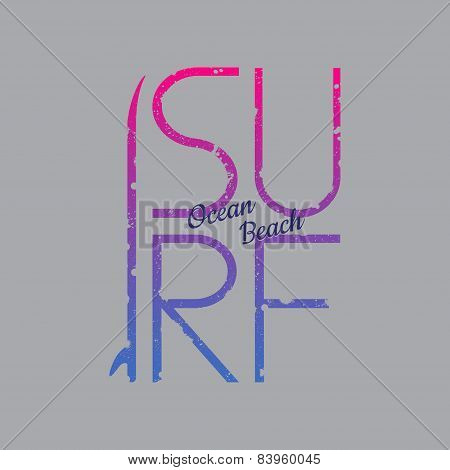 Surf Illustration Typography with pink and blue gradient