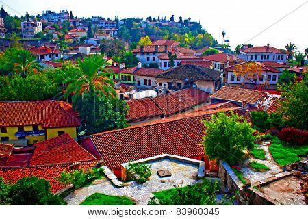 Digital Painting Of Rooftops In Kaleici, Antalya, Turkey