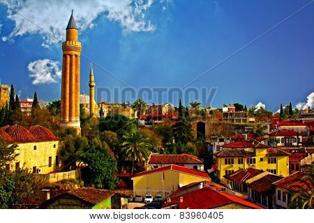 Digital Painting, Rooftops With Mosque In Kaleici, Antalya, Turkey