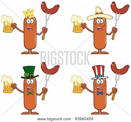 Sausage Cartoon Mascot Character 13.  Collection Set