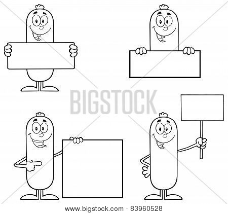 Black And White Sausage Cartoon Mascot Character 2. Collection Set