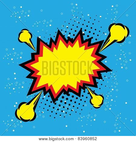 Explosion Steam Bubble Pop-art Vector - Funny Funky Banner Comics Background