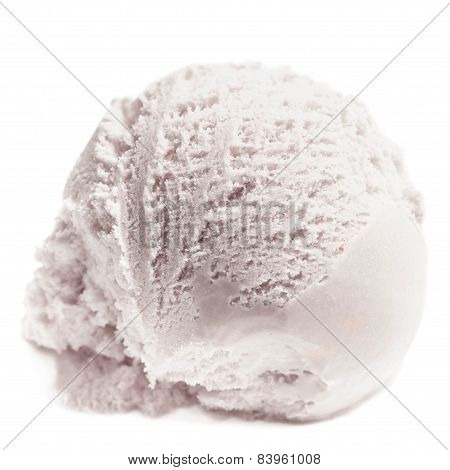 Scoop Of Vanilla Ice Cream Isolated  On White Background. Ball Of White Ice-cream Close Up.