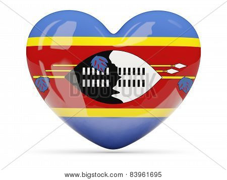 Heart Shaped Icon With Flag Of Swaziland