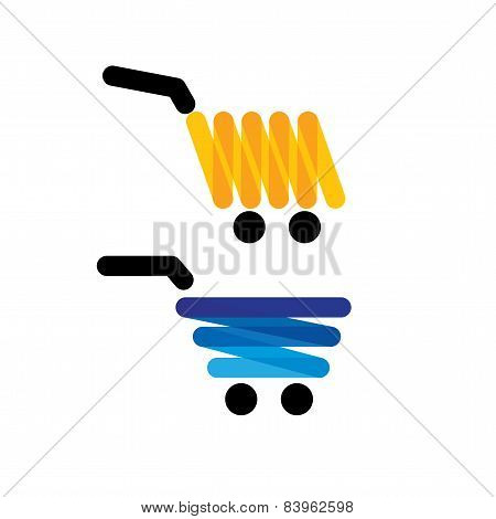 Vector Icon Simple Unique Shopping Trolleys - Concept Graphics In Yellow And Blue Colors