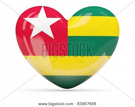 Heart Shaped Icon With Flag Of Togo