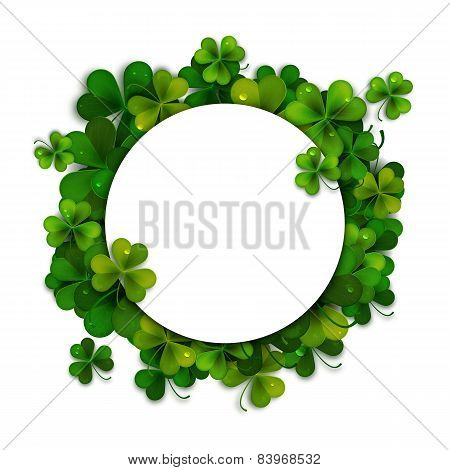 Saint Patricks Day Vector Background, Frame With Realistic Shamrock Leaves
