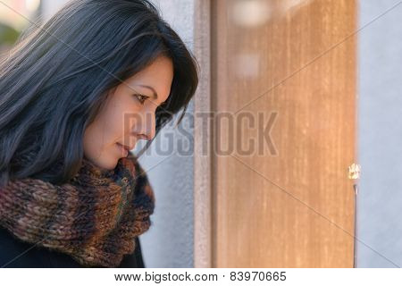 Attractive Woman Looking Into Store Window
