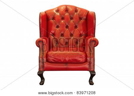 Ventage Red Armchair On White Background